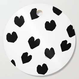 Love Yourself no.2 - black heart pattern love art black and white illustration Cutting Board