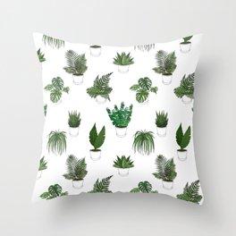 Houseplants Illustration (white background) Throw Pillow