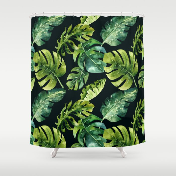 Watercolor Botanical Tropical Palm Leaves on Solid Black Background Shower Curtain