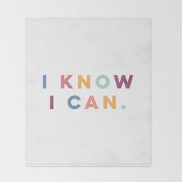 I Know I Can Postive Print Throw Blanket
