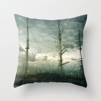 sailboat Throw Pillows featuring Sailboat by Fine2art