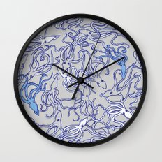 Squids of the inky ocean Wall Clock