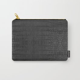 Alligator Black Leather Carry-All Pouch