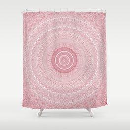 Boho Chic Glittery Pink Pastel Mandala Shower Curtain