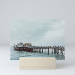 Cloudy Day at Santa Monica Pier California Mini Art Print