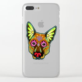 German Shepherd in Brown - Day of the Dead Sugar Skull Dog Clear iPhone Case