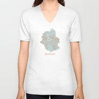 brussels V-neck T-shirts featuring Brussels typo map by zldrawings