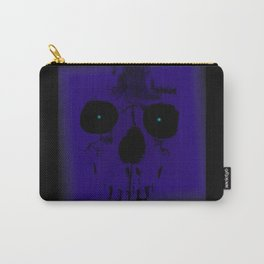 Blue Skull on Black Carry-All Pouch