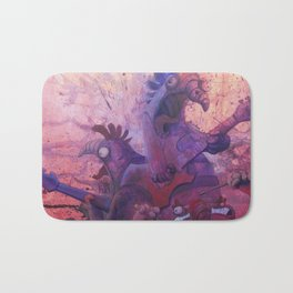 the doomed chickens from hell Bath Mat