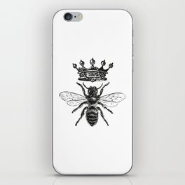 Queen Bee | Vintage Bee with Crown | Black and White | iPhone Skin