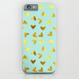 gold heart pattern blue iPhone Case