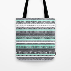 Pastel Mint / Pale Turquoise Tiffany Aztec Tribal Pattern Tote Bag