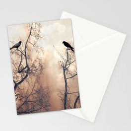 Ethereal Haunting Black Ravens In Trees  Stationery Cards