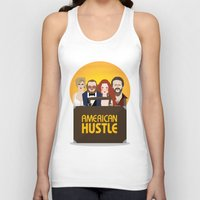 movie poster Tank Tops featuring American Hustle Movie Poster by Gary  Ralphs Illustrations