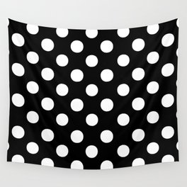 Polka Dots (White/Black) Wall Tapestry