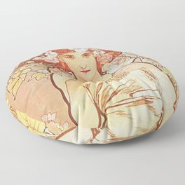 Rose by Alphonse Mucha 1897 // Vintage Girl with Red Hair Floral Love Design Floor Pillow