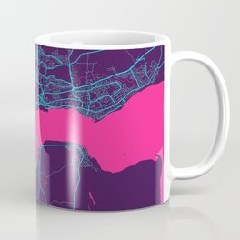 Dundee Neon City Map, Dundee Minimalist City Map Art Print Coffee Mug