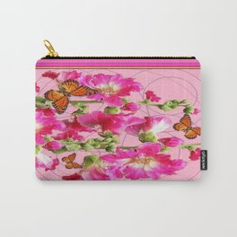Monarchs &  Blooming Coral Pink Hollyhock Flowers Carry-All Pouch