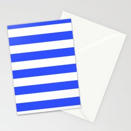 Even Horizontal Stripes, Blue and White, L Stationery Cards