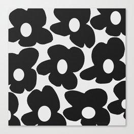 Black Retro Flowers White Background #decor #society6 #buyart Canvas Print