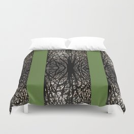 Gothic tree striped pattern green Duvet Cover
