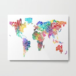 Typography Text Map of the World Metal Print