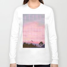 Plaid Landscape Tranquil Sunset Long Sleeve T-shirt