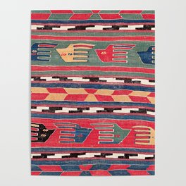Southwestern Nomad II // 18th Century Colorful Red Blue Green Yellow Shapes and Bands Pattern Poster