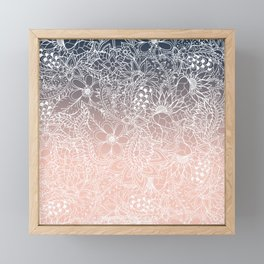 navy blue pastel peach ombre gradient white floral pattern Framed Mini Art Print