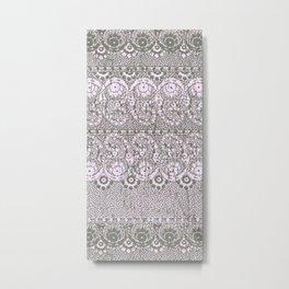 sun floral paisley monochrome Metal Print