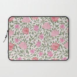 Modern Vintage Chic Blush Pink Forest Green Floral Laptop Sleeve