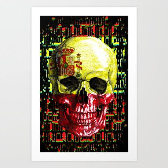 digital Skull (flag of spain) Art Print