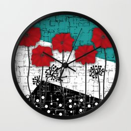 Applique. Poppies on turquoise black white background . Wall Clock