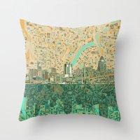 cincinnati Throw Pillows featuring cincinnati city skyline by Bekim ART