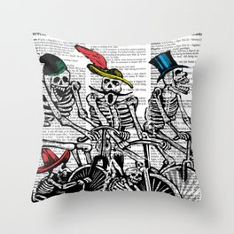 Calavera Cyclists Throw Pillow