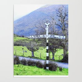 The Sign on the Road to Buttermere, Lake District, UK Watercolour Poster
