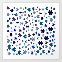 Jigsaw pieces of bluish colors. Art Print