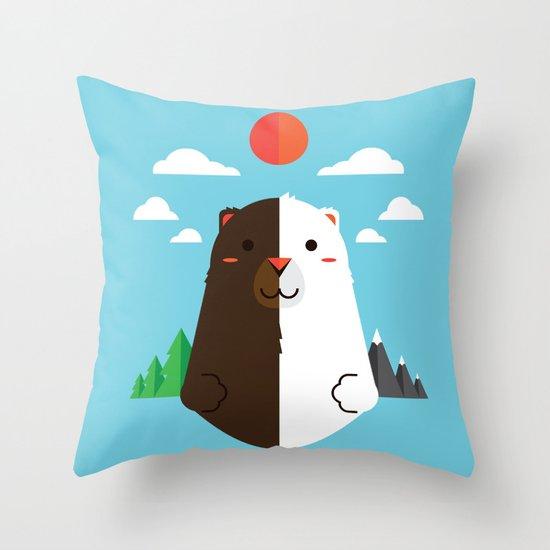 Grizzly & Polar Throw Pillow