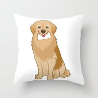 golden retriever Throw Pillows featuring Love Golden Retriever by Ball Ball and friends