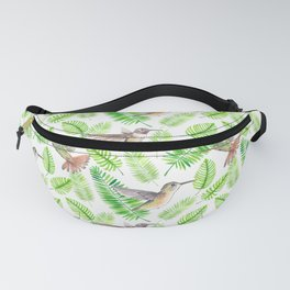 Hummingbirds and tropical leaves Fanny Pack