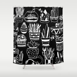 Succulent Party (Night Version) Shower Curtain