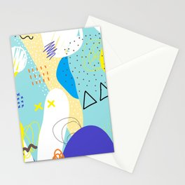 Abstract colorful shapes cool modern composition Stationery Cards