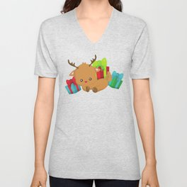 Cute Reindeer, Reindeer With Red Nose And Gifts Unisex V-Neck