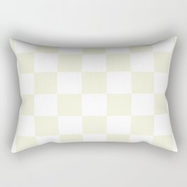 Checkered - White and Beige Rectangular Pillow