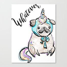 Funny Pug, Unicorn Pug, Funny Dog, Cute Pug, Cute Dog, Puppy dog, Unicorn dog Canvas Print