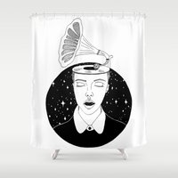 sound Shower Curtains featuring Universal sound by Cecile Psicheer