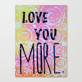 Love You  Happy Valentines Pink Yellow Fun Bright Canvas Print