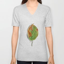 Autumn leaf of hazelnut  Unisex V-Neck
