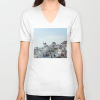 greece V-neck T-shirts featuring Greece Villas by Limitless Design