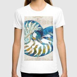 Beachy Art - Nautilus Shell Bleu - Sharon Cummings T-shirt